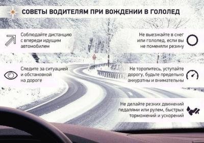 Советы водителям при вождении в гололед