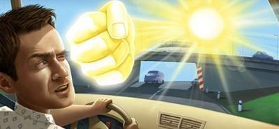 Вождение автомобиля при слепящем солнце